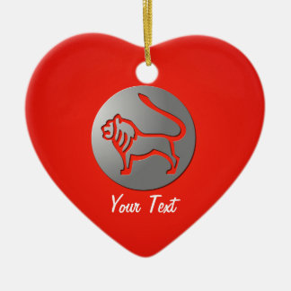 Leo Zodiac Star Sign Silver Premium Double-Sided Heart Ceramic Christmas Ornament
