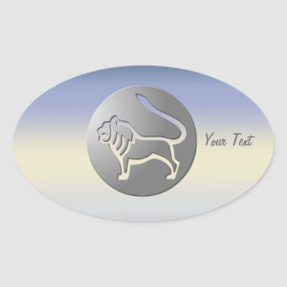 Leo Zodiac Star Sign Silver Premium Oval Sticker