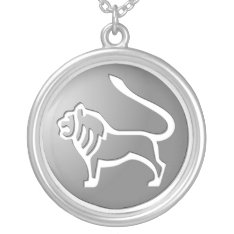 Leo Zodiac Star Sign Silver Premium Silver Plated Necklace at Zazzle