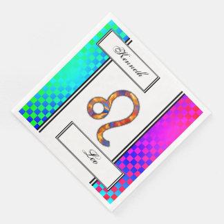 Leo Zodiac Symbol Element by Kenneth Yoncich Paper Dinner Napkin