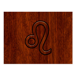 Leo Zodiac Symbol in Mahogany wood style decor Postcard