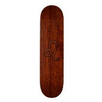 Leo Zodiac Symbol in Mahogany wood style decor Skateboard