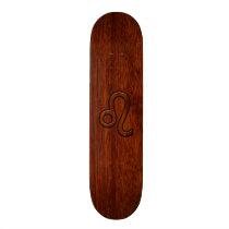 Leo Zodiac Symbol in Mahogany wood style decor Skateboard