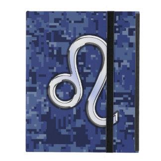 Leo Zodiac Symbol on Navy Blue Digital Camo iPad Cover