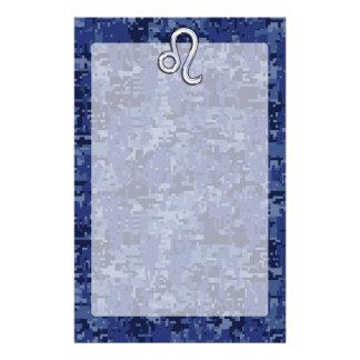 Leo Zodiac Symbol on Navy Blue Digital Camo Stationery
