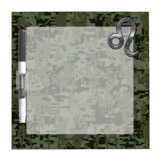 Leo Zodiac Symbol on Woodland Digital Camo Dry-Erase Board