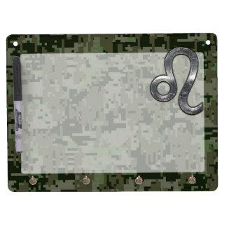 Leo Zodiac Symbol on Woodland Digital Camo Dry Erase Board With Keychain Holder