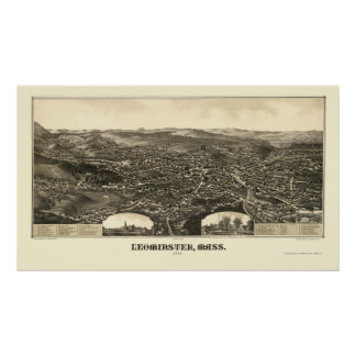 Leominster, mapa panorámico del mA - 1886 Póster