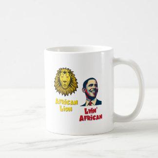 León africano africano de Obama Lyin Taza