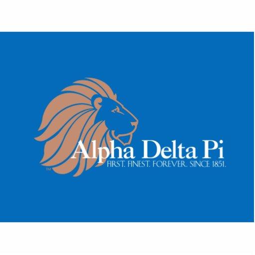 León alfa del oro del delta pi con el fondo azul fotoescultura vertical