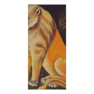 León amarillo que se sienta de Niko Pirosmani Tarjeta Publicitaria A Todo Color