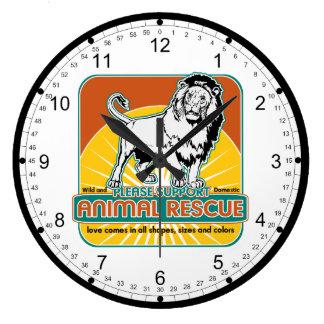 León animal del rescate reloj redondo grande