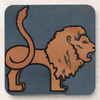León - anticuario, ejemplo de libro colorido posavasos de bebida