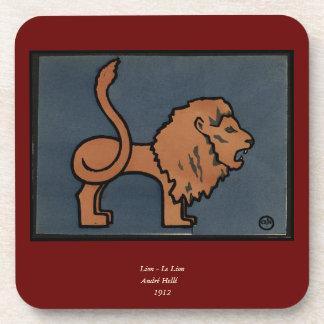 León - anticuario, ejemplo de libro colorido posavasos de bebidas