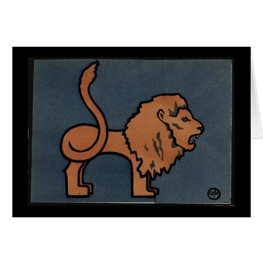 León - anticuario, ejemplo de libro colorido tarjeta