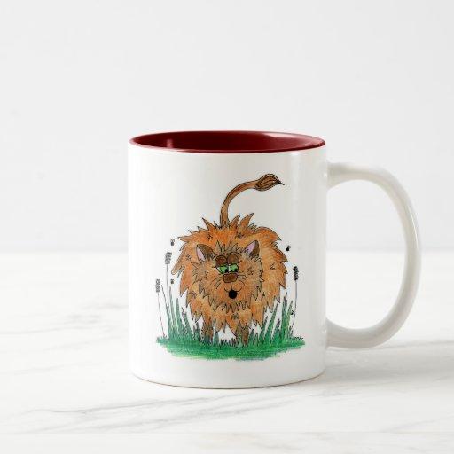 León aterronado tazas de café