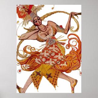 León Bakst - lona del ballet del traje de Firebird Póster