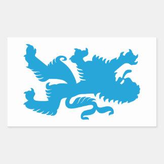 León bávaro azul pegatina rectangular