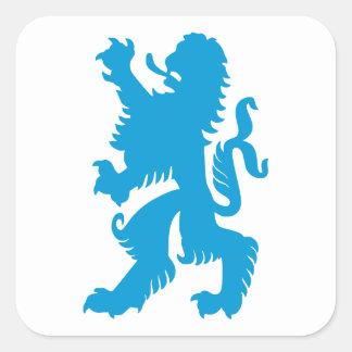 León bávaro azul pegatina cuadrada