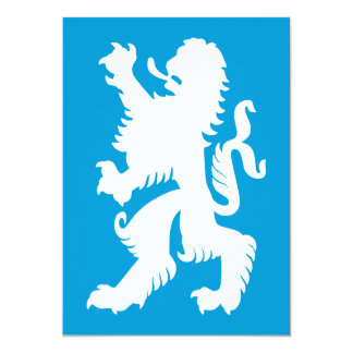León bávaro del azul y blanco invitación 12,7 x 17,8 cm