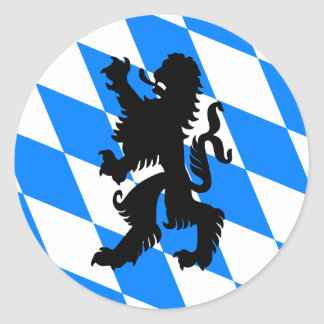 León bávaro negro pegatina redonda