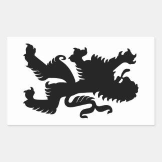 León bávaro negro pegatina rectangular