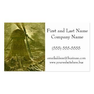 Leon Benett Sepia Windmill Ocean Illustration Business Cards