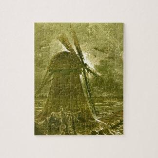 Leon Benett Sepia Windmill Ocean Illustration Puzzle