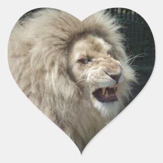 León blanco del gruñido pegatina en forma de corazón