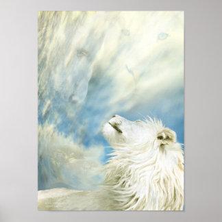 León blanco - en el poster salvaje del arte del vi