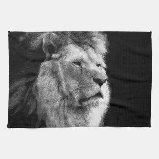 León blanco negro toalla