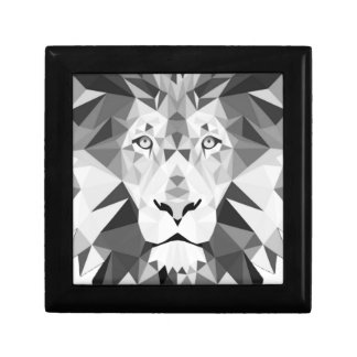 León blanco y negro joyero cuadrado pequeño