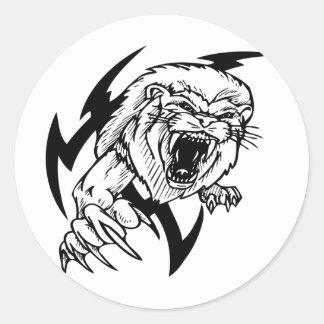 León blanco y negro etiquetas redondas