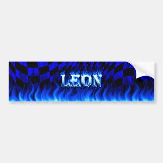Leon blue fire and flames bumper sticker design. car bumper sticker