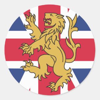 León BRITÁNICO de la bandera Pegatina Redonda