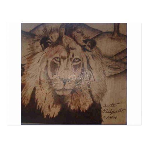 León Burnig de madera 2 del WB 2.PNG del LEÓN Postal