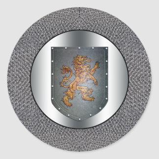 León Chainmail del escudo del metal Pegatina Redonda