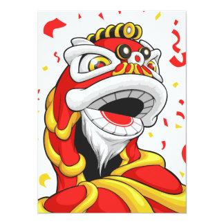 León chino del Año Nuevo Invitaciones Personales