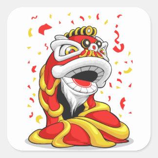 León chino del Año Nuevo Pegatina Cuadrada