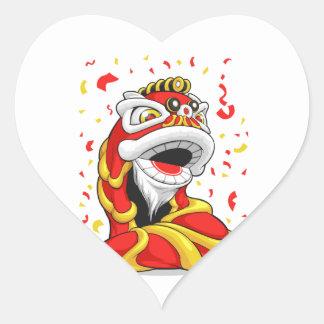 León chino del Año Nuevo Pegatina En Forma De Corazón