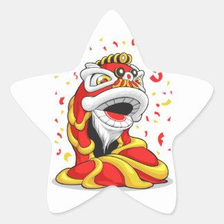 León chino del Año Nuevo Pegatina En Forma De Estrella
