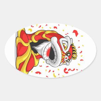 León chino del Año Nuevo Pegatina Ovalada