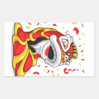 León chino del Año Nuevo Pegatina Rectangular