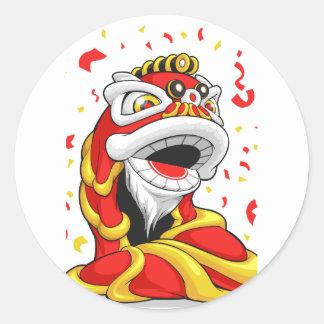 León chino del Año Nuevo Pegatina Redonda