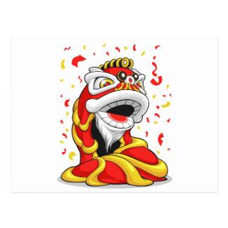 León chino del Año Nuevo Tarjeta Postal