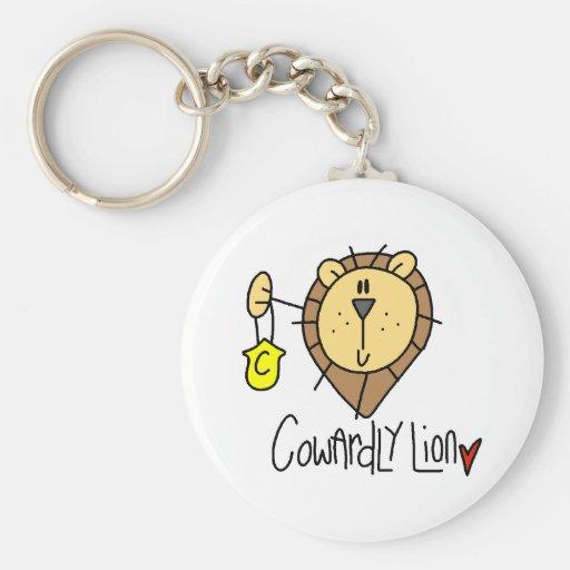 León cobarde llavero redondo tipo pin