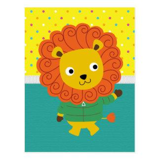 León colorido hermoso para los niños, el sitio del postales