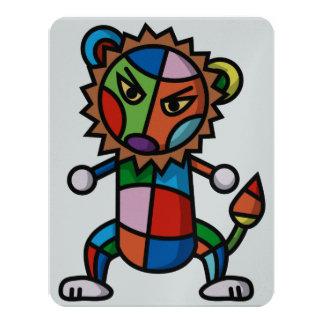 """león colorido invitación 4.25"""" x 5.5"""""""