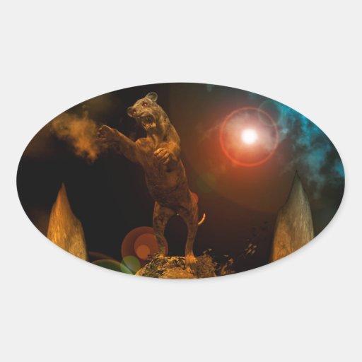 León como estatura calcomanía óval