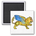 León con alas medieval Gryphon Imán Cuadrado
